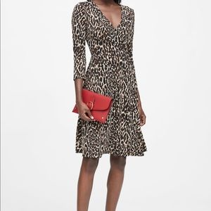 Banana Republic Leopard Print Jersey Wrap Dress